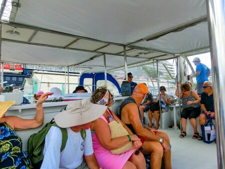 Oranjestad, Aruba - December 4, 2019: Tourists on boat trip from the Pelican tour Banco de Imagens - 138306049