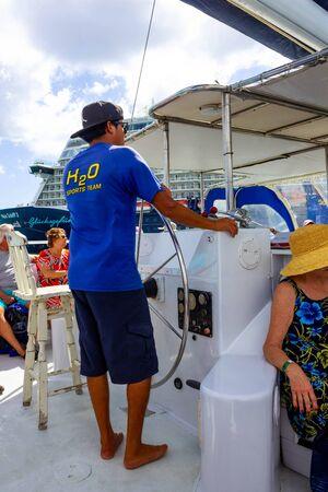 Oranjestad, Aruba - December 4, 2019: Tourists on boat trip from the Pelican tour