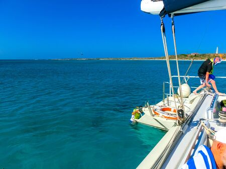 Oranjestad, Aruba - December 4, 2019: Tourists on boat trip from the Pelican tour Banco de Imagens - 138306248