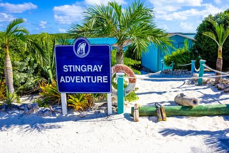 Half Moon Cay, Bahamas - December 02, 2019: Welcome sign at Stingray adventure at Half Moon Cay, Little San Salvador Island, the Bahamas. Half Moon Cay is a private island owned by Holland America Line in the Bahamas.