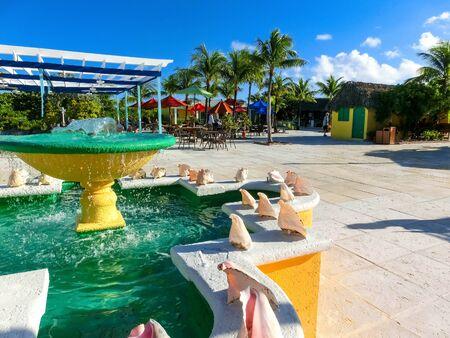 Fort San Salvador at Half Moon Cay, Little San Salvador Island, the Bahamas. Banco de Imagens