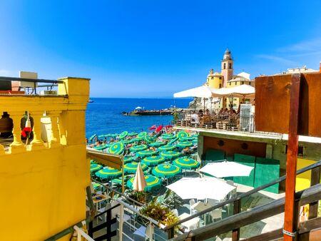 The sea and beach at Camogli, Italy on sunny summer day, Liguria