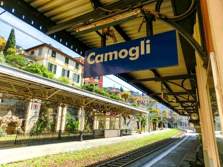The view of Camogli train station at Italy Banco de Imagens