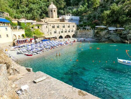San Fruttuoso abbey in Camogli, Liguria at Italy Banco de Imagens