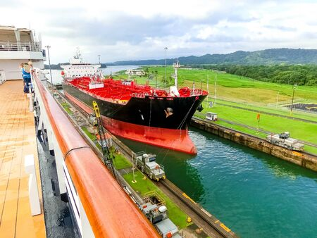 View of Panama Canal from cruise ship at Panama