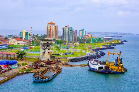 Colon is a sea port on the Caribbean Sea coast of Panama. The city lies near the Caribbean Sea entrance to the Panama Canal.