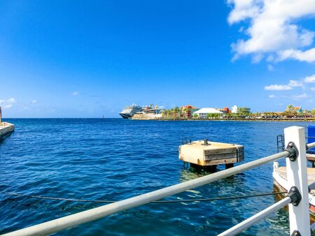 The ocean and Rif Fort at Willemstad, Curacao, Caribbean Stock Photo