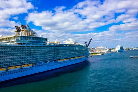 Big cruise ship at seaport Fort Lauderdale
