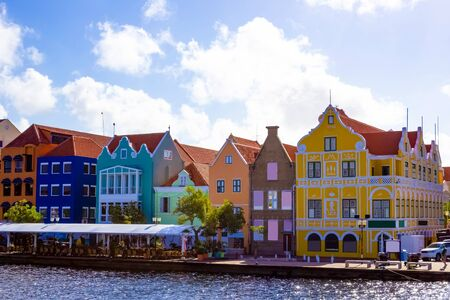 Willemstad, Curacao, Netherlands - Specific coloured buildings at street in Curacao