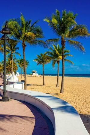 Fort Lauderdale beach near Las Olas Boulevard with the distinctive wall in the foreground.