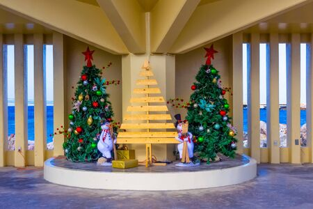 Willemstad, Curacao, Netherlands - December 5, 2019: Christmas decorations in Willemstad, the Caribbean Island of Curacao