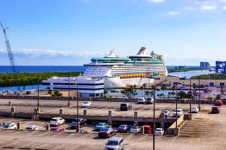 The view from a cruise ship of terminal at Port Everglades, in Ft. Lauderdale, Florida of the channel and beach.