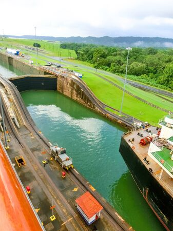 View of Panama Canal from cruise ship