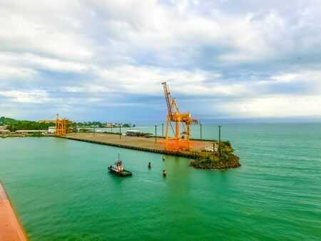 Port Limon - seaport in Costa Rica. Sea and blue sky