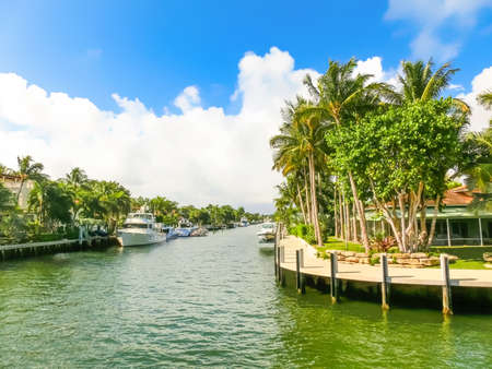 Fort Lauderdale - December 11, 2019: Luxury mansion in exclusive part of Fort Lauderdale known as small Venice Editorial