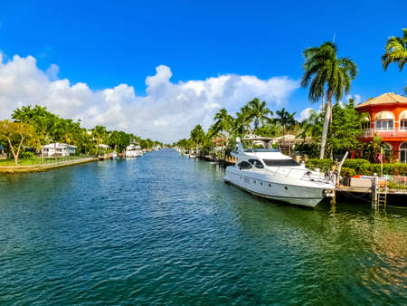 Fort Lauderdale - December 11, 2019: Luxury mansion in exclusive part of Fort Lauderdale known as small Venice
