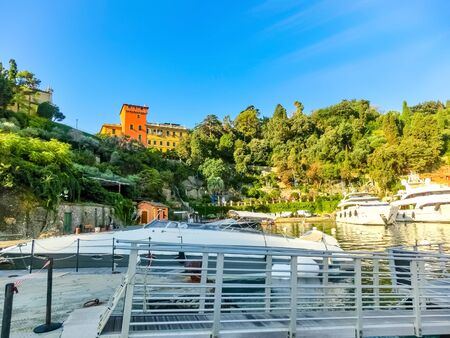 Beautiful bay with colorful houses in Portofino, Liguria, at Italy