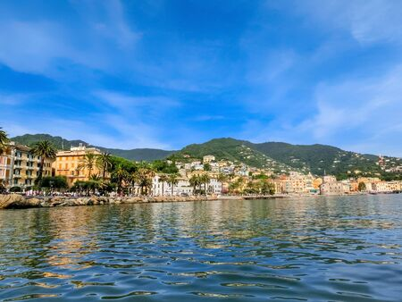 Panorama of town Rapallo in Liguria, Italy.