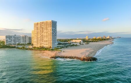 Cityscape of Ft. Lauderdale, Florida showing the beach and condominiums