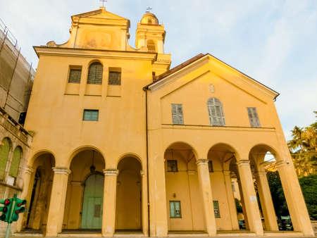 Rapallo, Italy - September 17, 2019: The building facade of Church in Rapallo Italy Liguria