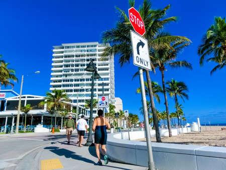 Fort Lauderdale - December 11, 2019: The people at Fort Lauderdale beach near Las Olas Boulevard with modern buildings Editorial