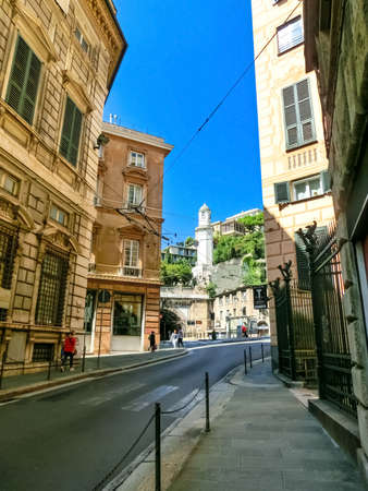 Genoa, Liguria, Italy - September 11, 2019: The people in the central street in the city center