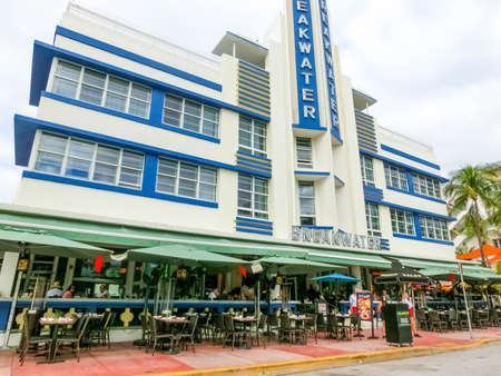 Miami, United States of America - November 30, 2019: Breakwater Hotel at Ocean drive in Miami Beach, Florida. Art Deco architecture in South Beach is one of the main tourist attractions in Miami. Editorial