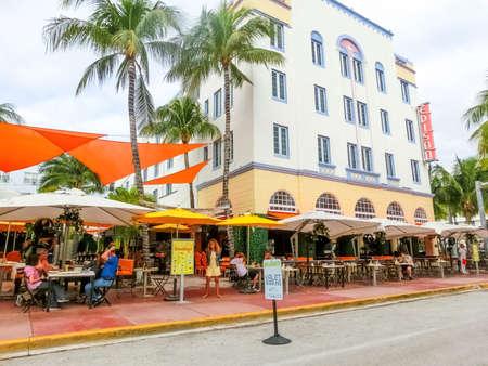 Miami, United States of America - November 30, 2019: Edison Hotel at Ocean drive in Miami Beach, Florida. Art Deco architecture in South Beach is one of the main tourist attractions in Miami.