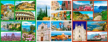 Collage of major Italian travel destinations from photos of Italy. The landscapes of Garda Lake, Venice, Capri island, of Manarola at Cinque Terre, Venice, Rome, Florence, Burano, Sorrento Archivio Fotografico