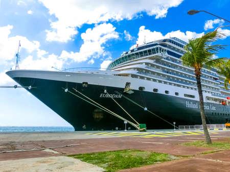 Oranjestad, Aruba - December 4, 2019: The cruise ship Holland America cruise ship Eurodam docked at Aruba island.