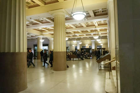New York CITY, United States of America - May 01, 2016: The people at entrance hall at American museum of Natural History at New York CITY, United States of America on May 01, 2016