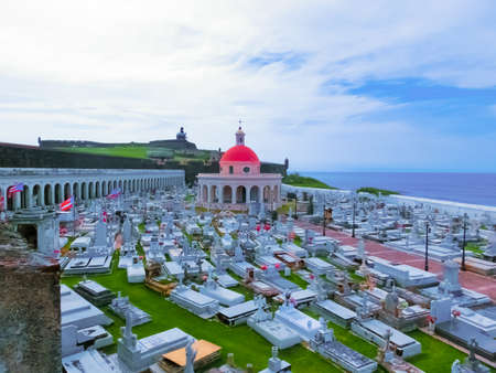San Juan, Puerto Rico - May 08, 2016: The old Cemetery at San Juan at Puerto Rico and view of the ocean