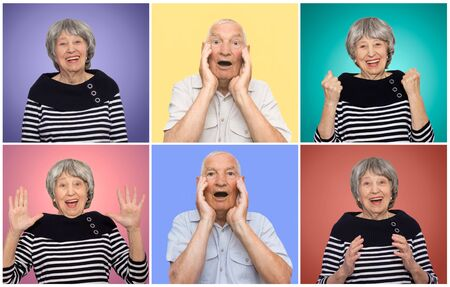 The collage from different emotions of senior woman and man. Old couple with surprised expression on faces on colored studio background. Human emotions concept.