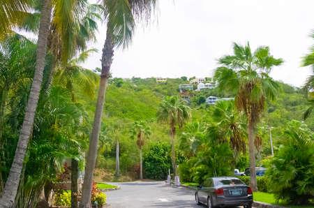 St. Thomas, US Virgin Islands - May 16, 2016: The main entrance at Caribbean tropical beach Morning Star at Marriott Frenchmans Cove resort. Editorial