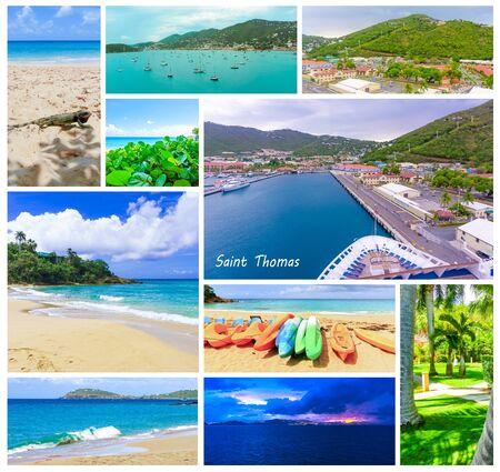Collge of views of the island of St Thomas, USVI Stock Photo