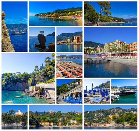 Collage about architecture and beach of Santa Margherita Ligure - popular touristic destination in summer at Italy Stock Photo