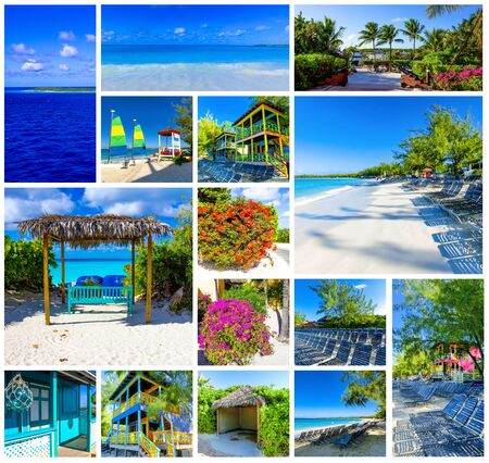 Collage about Half Moon Cay island at Bahamas. Blue water and white sand
