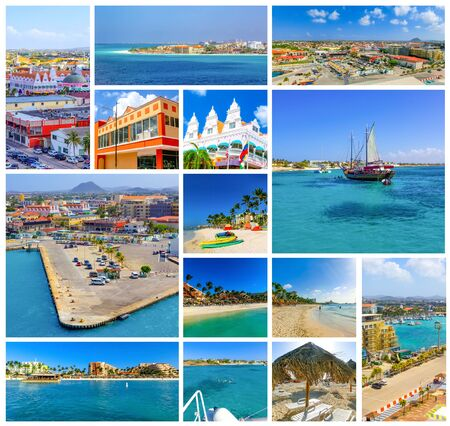 Collage about Aruba - Dutch province named Oranjestad