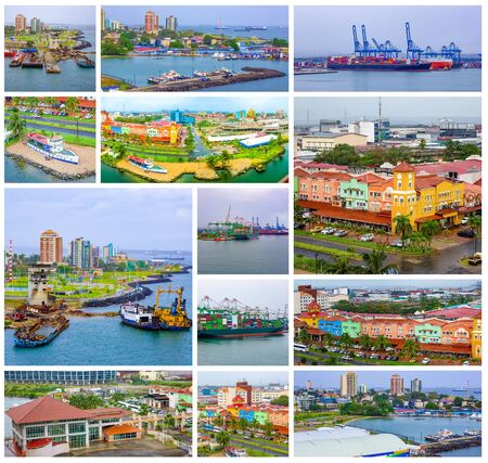 Colon is a sea port on the Caribbean Sea coast of Panama. The city lies near the Caribbean Sea entrance to the Panama Canal. Collage