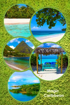 Collage from views of the Caribbean beaches of Bahamas, Saint Lucia, Jamaica. Happy Caribbean cruise concept