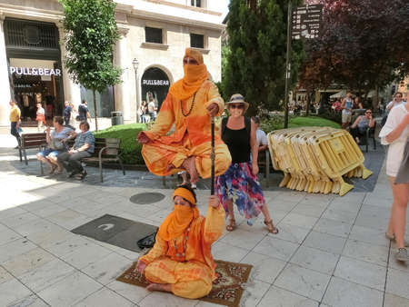 Palma de Mallorca, Spain - September 07, 2015: Levitation street performer in central od Palma de Mallorca, Spain on September 07, 2015 Editorial