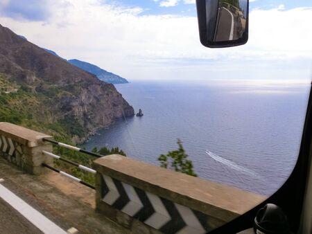 Positano at Italy along the stunning Amalfi Coast. View from bus window