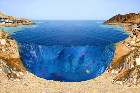 Famous diving site - Blue Hole in Egypt, where more than 100 divers died