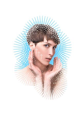 The lifting, skin, plastic surgery concept. Woman face with marks and arrows. Art collage. Short haircut, long neck, perfect skin. Lifting by gold thread concept