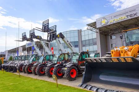 Kyiv, Ukraine - June 16, 2020: Skid steer loader Bobcat at road at Kyiv, Ukraine on June 16, 2020 Éditoriale