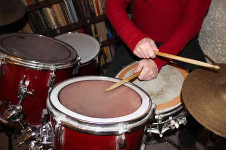 Senior man with drums. Rock, music, instrument entertainment concert concept