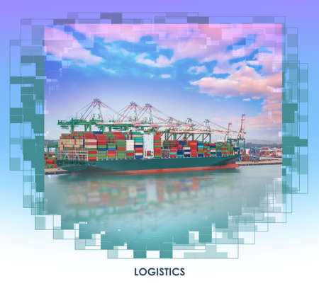 Logistics and transportation of international container cargo ship at port at sunset time, Freight, shipping, nautical vessel concept