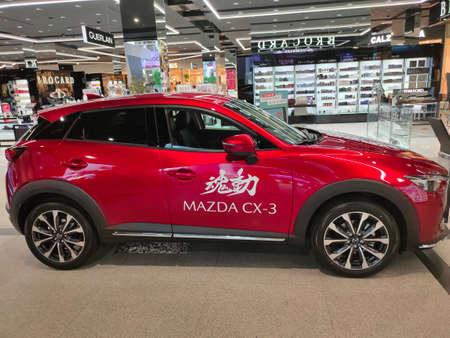 Kiyv, Ukraine - August 2, 2020: A view of Mazda CX-3 car with new design and aerodynamics displayed at Kiyv, Ukraine on August 2, 2020