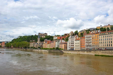 Lion, France - The view from river Sona to the bridge and Lyon city, France