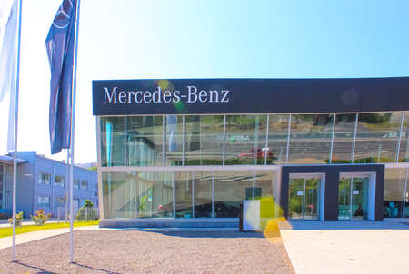 Kyiv, Ukraine - August 15, 2020: Mercedes-Benz logo automobile dealership sign and store at Kyiv, Ukraine on August 15, 2020. Mercedes is a German automobile manufacturer. Founded since 1926 Editöryel